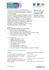 10 May 2012 - The NHS Budget Holder's Survival Guide - Programme