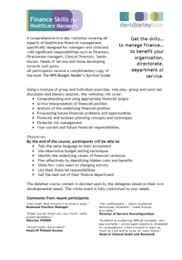 Finance Skills for Healthcare Managers - Programme