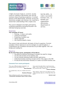 Making the Business Case - Programme