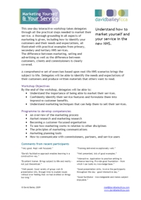 Marketing Yourself and Your Service - Programme