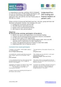 NHS Funding and Finance - Programme